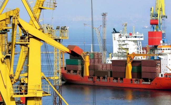 Black sea cargo port in Odessa, Ukraine